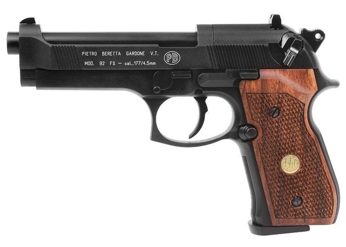Beretta Air Pistol - M92FS Black w/ Wood Grips .177 cal CO2 Pellet Gun