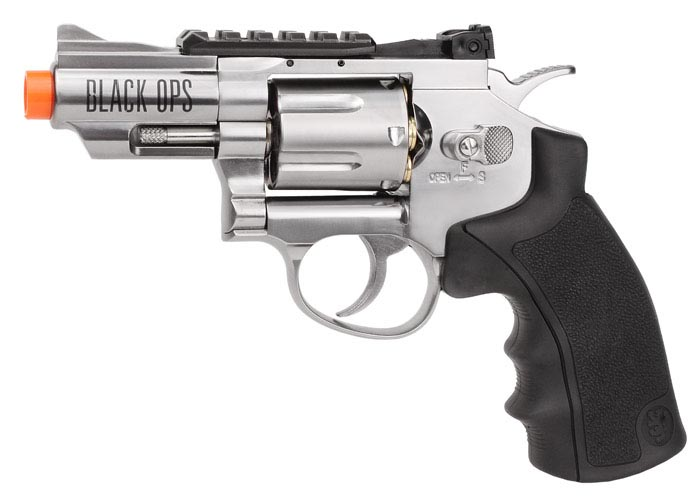 "Black Ops WG 2.5"" Airsoft Revolver, Silver"