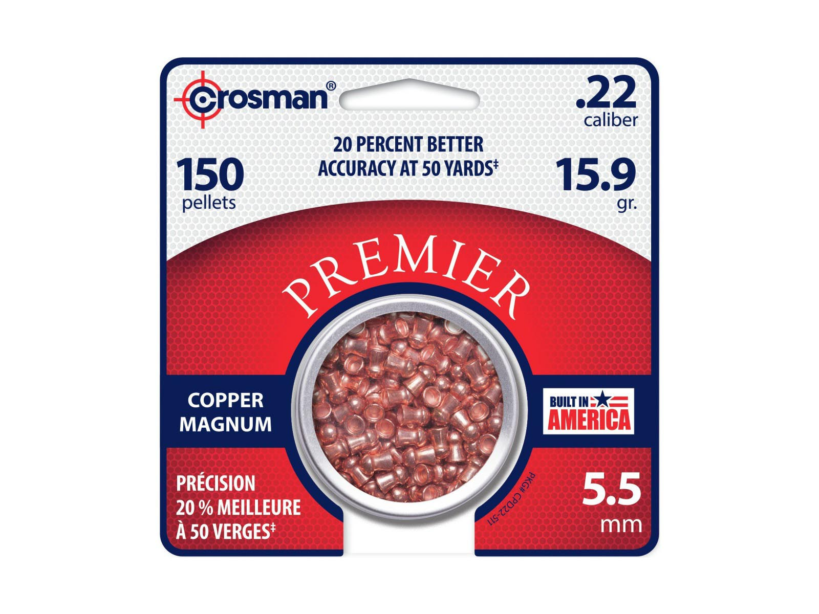 Crosman Premier Copper Magnum .22 Cal, 15.9 gr - 150 ct