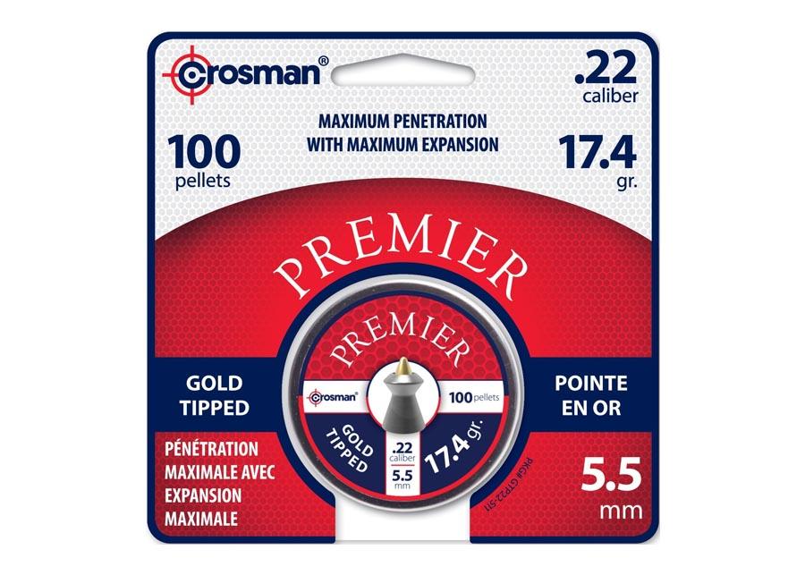 Crosman Premier Gold Tip .22 Cal, 17.4 gr - 100 ct