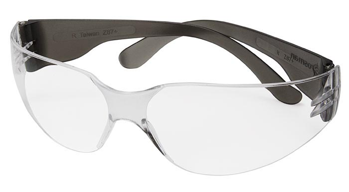 Crosman Safety Glasses, Clear Lenses, Gray Temples