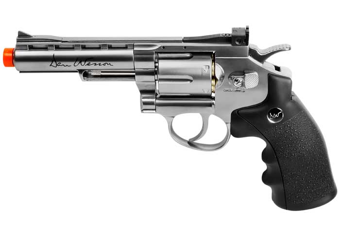 "Dan Wesson 4"" 6mm Airsoft Revolver, Silver"