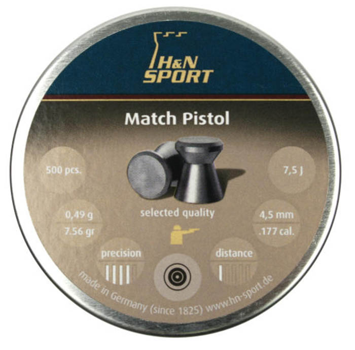 H&N Match Pistol (4.49mm) .177 Cal, 7.56 gr - 500 ct