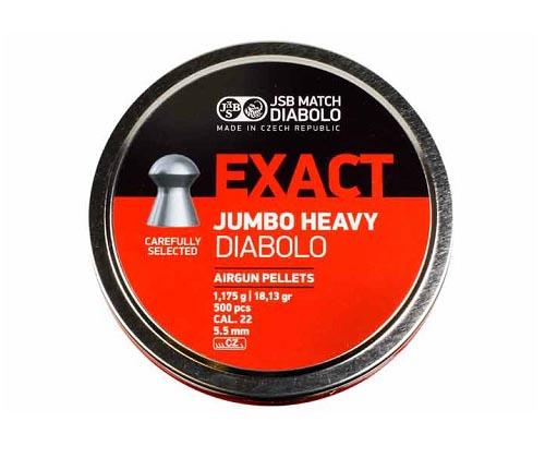 JSB Diabolo Exact Jumbo Heavy .22 Cal, 18.13 gr - 500 ct