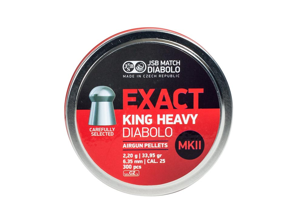 JSB Diabolo Exact King Heavy MKII .25 Cal, 33.95 gr - 300 ct
