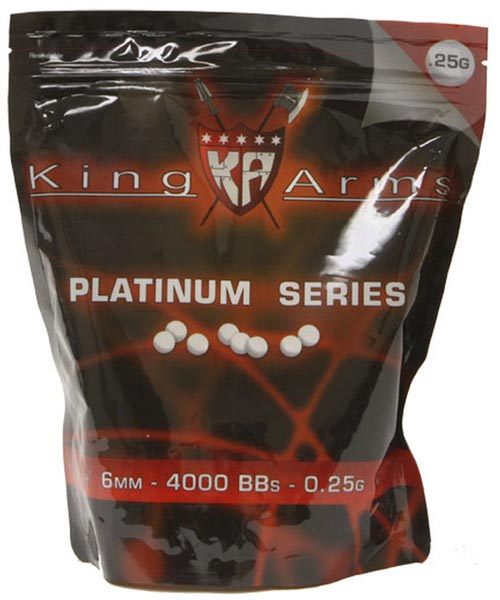 King Arms Platinum Series White Airsoft BBs, .25g - 4,000 ct