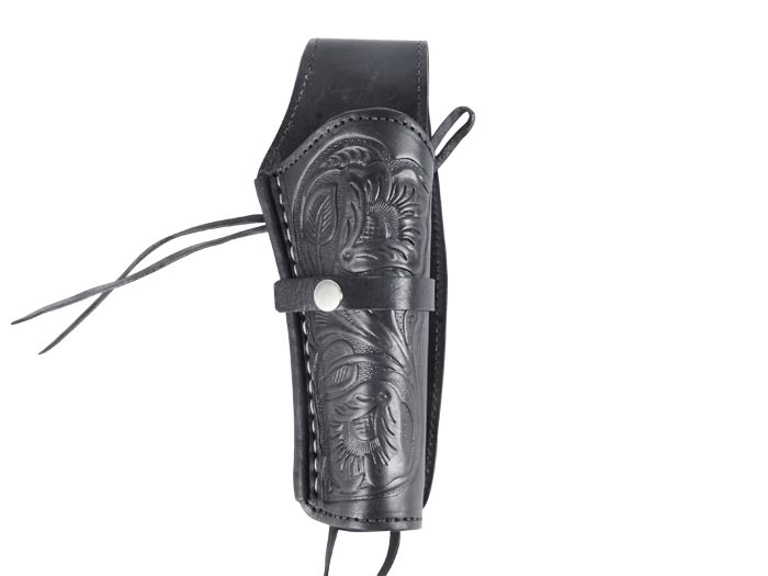 """Western Justice 6"""" Leather Holster, Black, Right Hand"""
