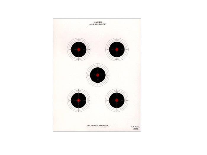 National Target 10m Air Rifle Target, 5 Bull Red Center 100 ct