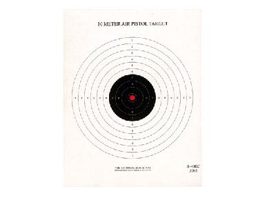 National Target Single 10m Air Pistol Target, Red Center 100 ct