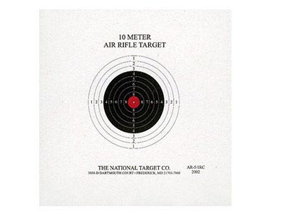 National Target Single 10m Air Rifle Target, Red Center 100 ct