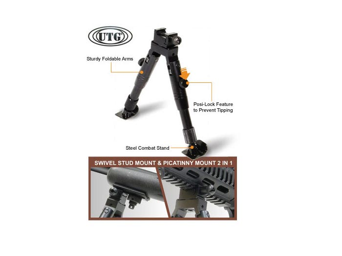 UTG SWAT/Combat Profile Bipod, Steel Feet