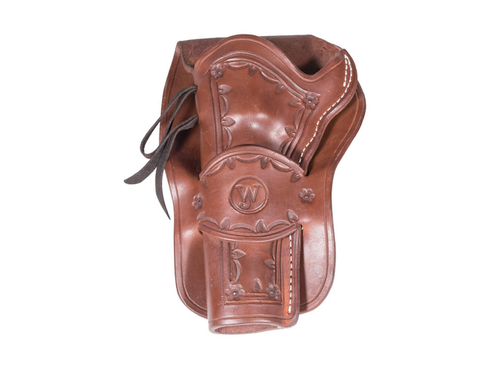 Western Justice Hand-Tooled Dark Burgundy Leather Holster, Left Hand