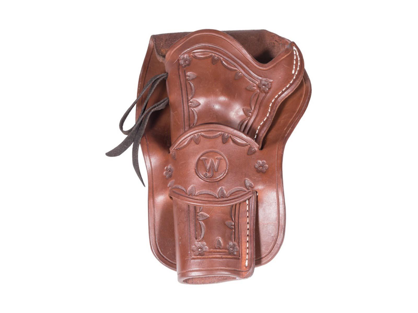 Western Justice Hand-Tooled Dark Burgundy Leather Holster, Left Hand