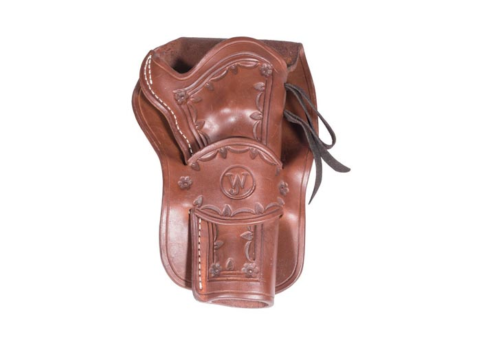 Western Justice Hand-Tooled Dark Burgundy Leather Holster, Right Hand
